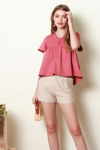 ACW Button Down Babydoll Top in Rose Pink