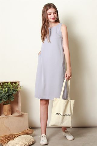 ACW Basic Slit Midi Dress in Dusty Grey