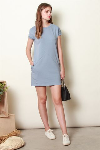 *BACK IN STOCK* Carved Lines Tee Dress in Steel Blue