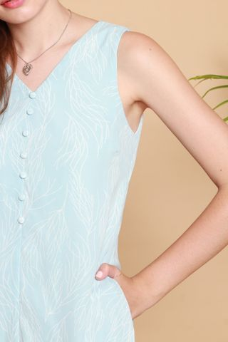 Drawn Lines Button Midi Dress in Sky Blue