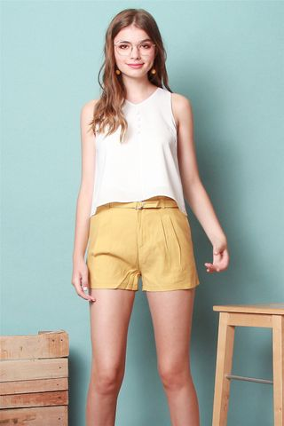 High Waisted Belt Shorts in Daffodil