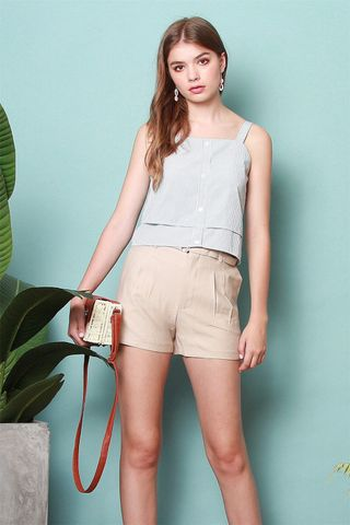 *BACK IN STOCK* High Waisted Belt Shorts in Khaki