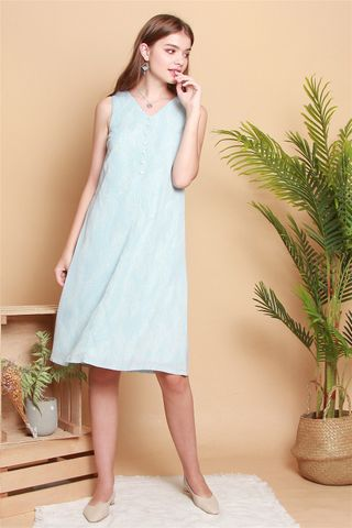 *BACK IN STOCK* Drawn Lines Button Midi Dress in Sky Blue