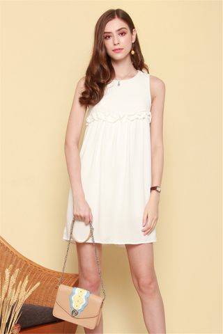 ACW Ruched Babydoll Romper Dress in White