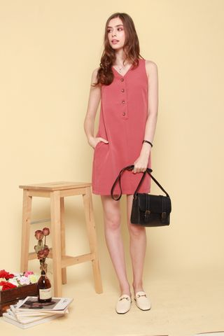 Button Down Sash Shift Dress in Terracotta