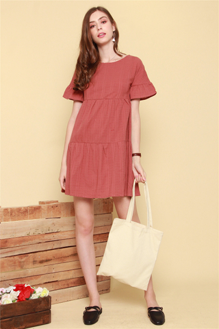 Babydoll Flutter Sleeve Eyelet Dress in Terracotta
