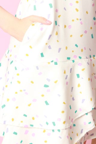 Confetti Layered Drop Hem Dress