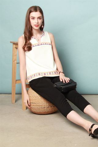 ACW Aztec Embroidery Blouse in White