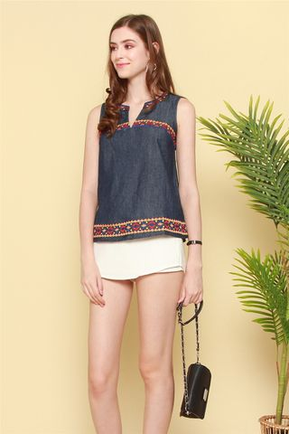 ACW Aztec Embroidery Blouse in Denim