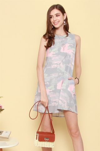 ACW Paint Brushstrokes Trapeze Dress in Grey