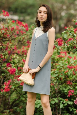 ACW Button Cami Dress in Ash Blue