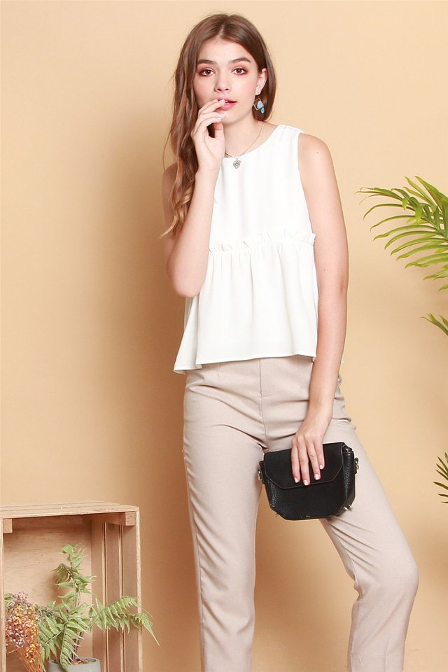 ACW Babydoll Frill Top in White