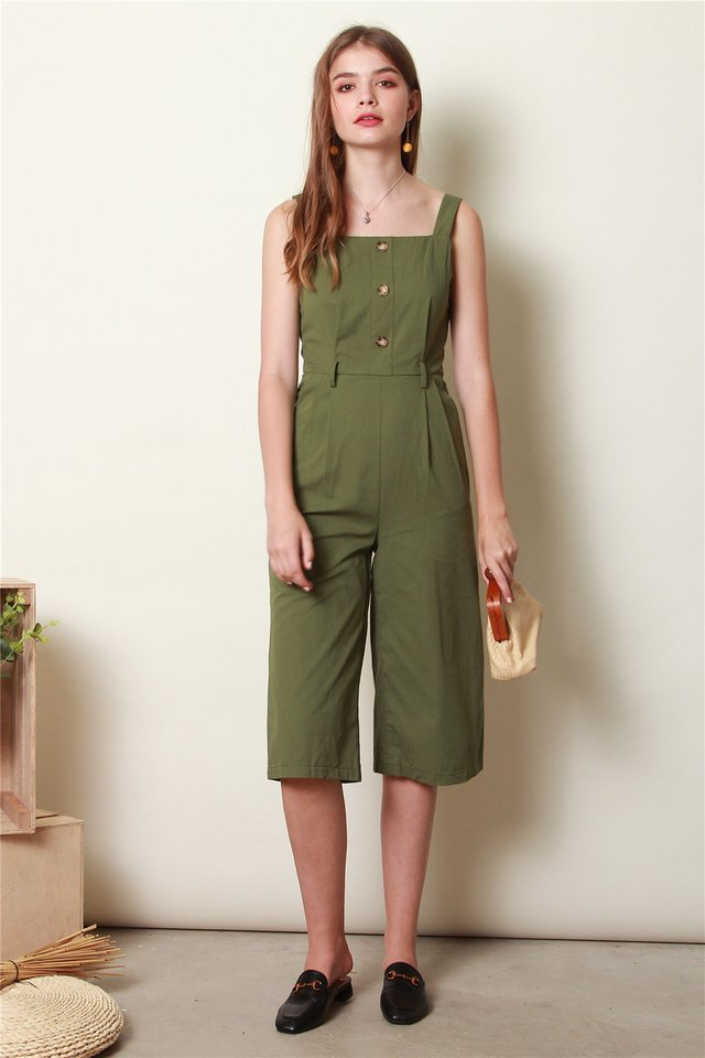 ACW Button Sash Jumpsuit in Olive