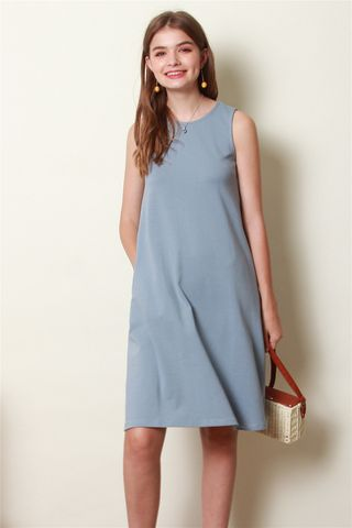 ACW Knit Basic Midi Dress in Ash Blue