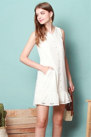 *BACK IN STOCK* ACW Button Down Embroidery Dropwaist Dress in White