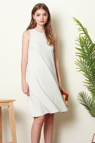 ACW Knit Basic Midi Dress in Light Grey