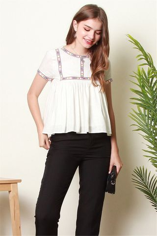ACW Coloured Square Embroidery Babydoll Top in White