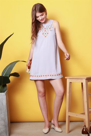 *BACK IN STOCK* ACW Summer Floral Embroidery Cut In Dress in Lilac