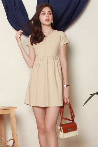 *BACK IN STOCK* ACW Button Linen Babydoll Dress in Khaki