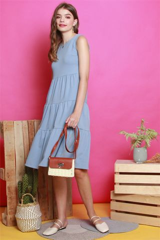 ACW Tiered Midi Knit Dress in Ash Blue