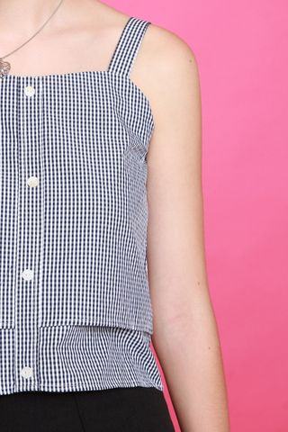 ACW  Gingham Strap Tier Top in Navy