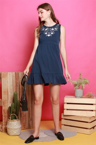 White Floral  Embroidery Dropwaist Babydoll Dress in Navy