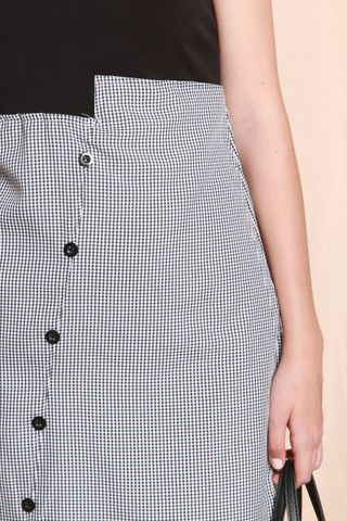 Asymmetrical Button Gingham Work Dress in Navy