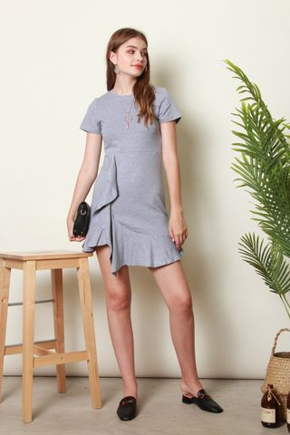 Knitted Ruffle Dress in Grey