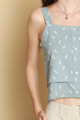 *BACK IN STOCK* ACW Pineapple Strap Tier Top in Ash Blue