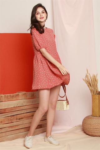 Polka Dot Babydoll Sleeved Dress in Mauve