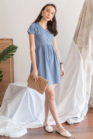 *BACK IN STOCK* ACW Button Linen Babydoll Dress in Denim Blue