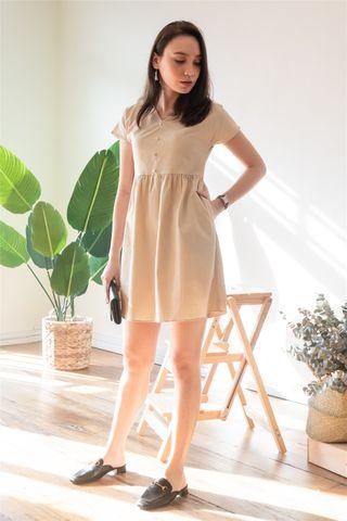 ACW Button Linen Babydoll Dress in Khaki