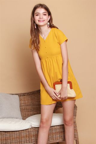 ACW Button Linen Babydoll Dress in Daffodil