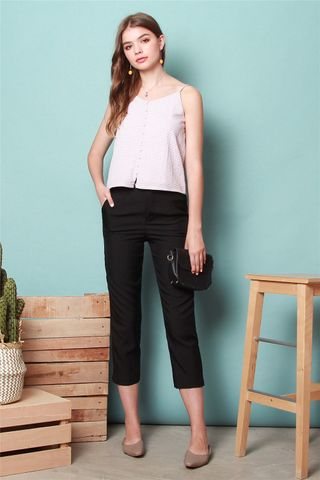 Double Button Fitted Trousers in Black