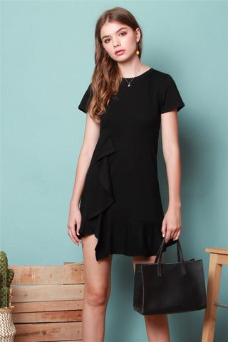 Knitted Ruffle Dress in Black