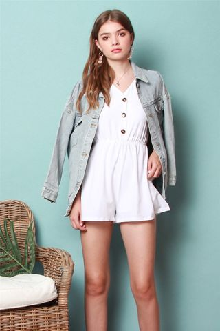ACW Button Basic Romper in White