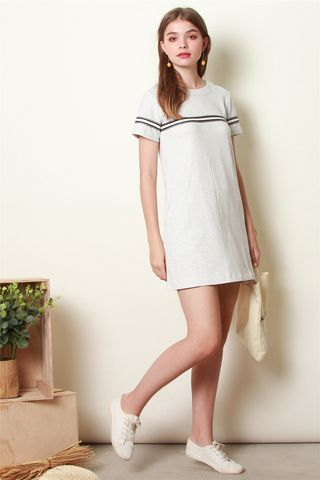 ACW Monochrome Stripe Tee Dress in Light Grey