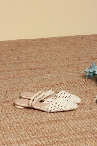 Weave Double Strap Sliders in Ivory