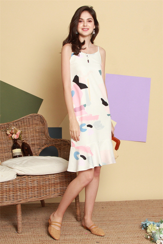 ACW Abstract Coloured Drop Hem Midi Dress in White