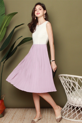 ACW Colourblock Pleats Midi Dress