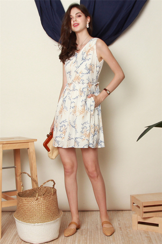 Wheat Floral Frill Babydoll Dress in White