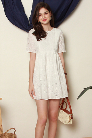 ACW Floral Eyelet Babydoll Sleeved Dress in White