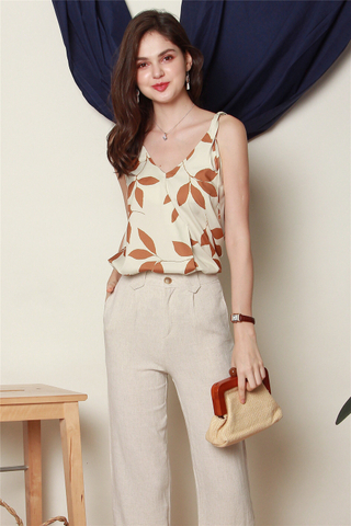 Tropic Floral Knotted Top in Brown