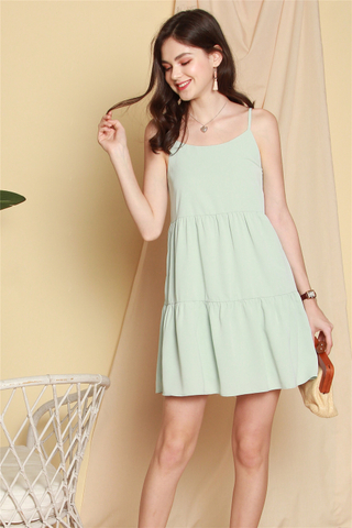 *BACK IN STOCK* Cami Tiered Babydoll Dress in Mint