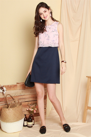 Floral Bloom Layered Work Dress in Pink-Navy