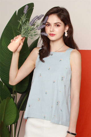 *BACK IN STOCK* ACW Purple Floral Embroidery Cut In Top in Powder Blue