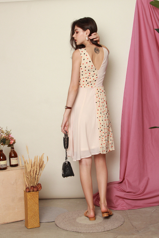 Confetti Colourblock Pleated Work Dress in Cream