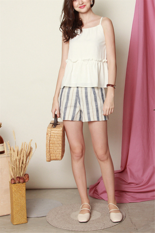 ACW Linen Pinstripe Shorts in Blue