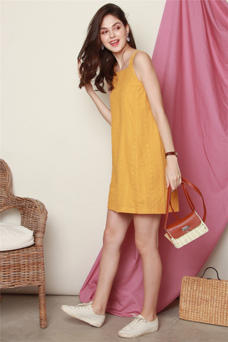 ACW Eyelet Panel Cut in Dress in Daffodil