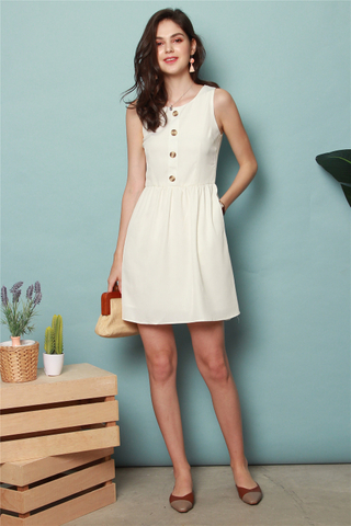 ACW Button Flare Babydoll Dress in White